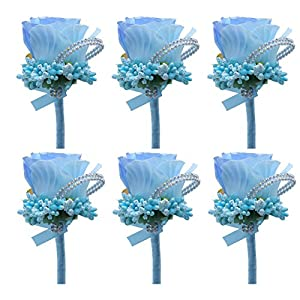 Silk Flower Arrangements ZZIYEETTM 6pcs Artificial Boutonniere Bridal Boutonniere Corsage Rose Silk Flower with Pin and Clip for Wedding Prom Party (Light Blue)