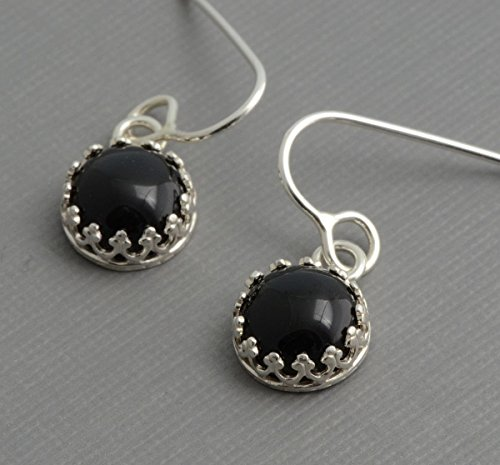 Genuine black onyx dangle earrings sterling silver hypoallergenic nickel free jewelry