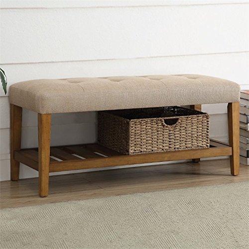 Oak Bench - Acme Furniture Acme 96682 Charla Bench, Beige & Oak, One Size