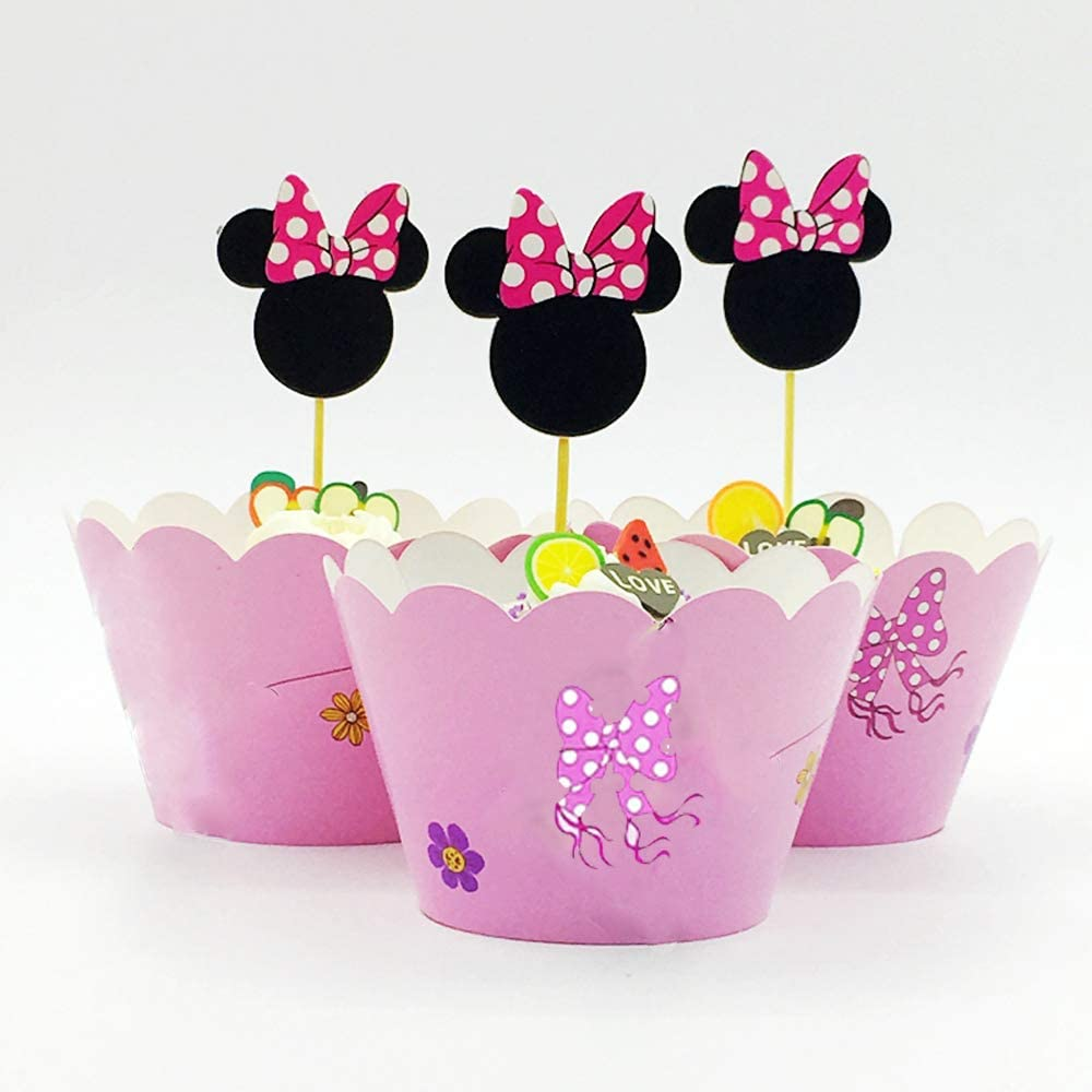 Hongkai 48pcs Mickey Mouse Cake Cupcake Toppers and Minnie Wrappers Picks for Baby Boy Girl First Birthday Decorations Baby Shower Anniversary Kids Happy Birthday Party Supplies