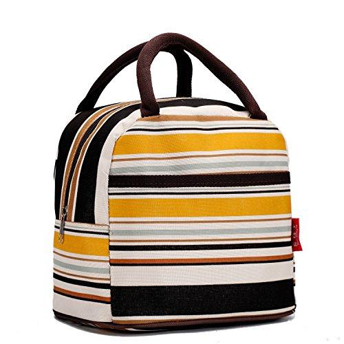 (Fashion Lunch bags Cosmetic Bag For Women Girls Tote Handbag - Yellow Line)