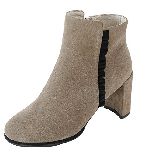 mujer botas corto tobillo zapatos Color Talón de cabeza bloque amp;X QIN La Tacones Naked de redonda fqw0E1gg