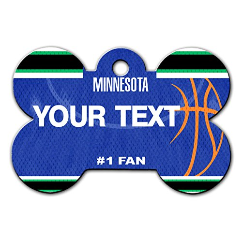 BleuReign(TM) Personalized Custom Name Basketball Minnesota License Plate Auto Tag Bone Shaped Metal Pet ID Tag with Contact Information