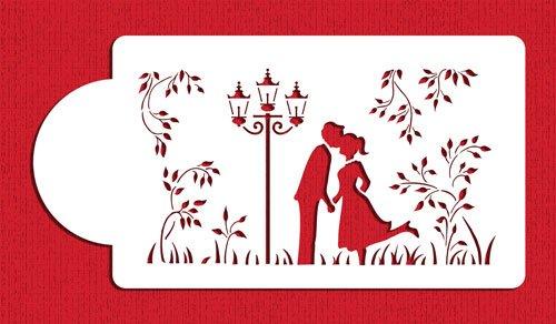 (Kissing Couple Silhouette Cake Stencils by Designer Stencils)