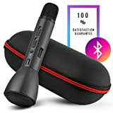 Mikey, Wireless Microphone Bluetooth, Handheld Portable Bluetooth Mic, Connects to Android, iOS, and Computers - Black