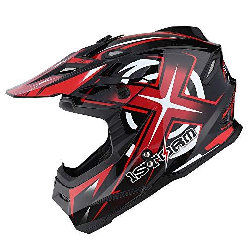 1Storm Adult Motocross Helmet BMX MX ATV Dirt Bike Helmet Racing Style HF801; Sonic Red (Best Mx Helmet Under 200)