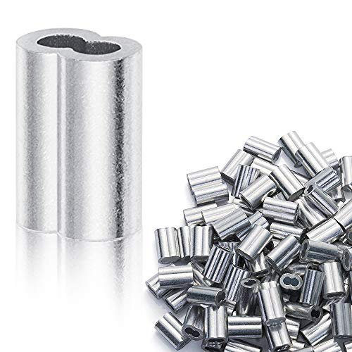 """Aluminum Crimping Loop Sleeve for 1/8"""" Diameter Wire Rope and Cable (1/8"""" 100PCS)"""