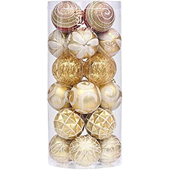 "Sea Team 60mm/2.36"" Decorative Shatterproof Painting & Glittering Designs Christmas Ball Ornaments Set with Embossed Finish Surface, 24-Pack, Gold"