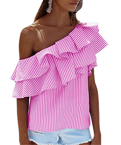 [Smile Fish Women Sexy Ruffle Stripe One Shoulder Sleeveless Chiffon T,shirt(Pink,S)] (Pink Stripe Shirt)