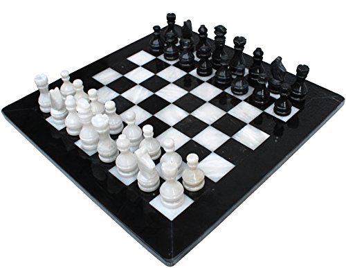 Tournament Black Table - LAVISH DEALS Handmade Staunton Chess Set – Black and White Marble Chess Set – Unique Chess set Ideal for Tournament Chess Set, Home Decor, Table Desk Décor, Marble Gift Item - Non Chess Backgammon Set