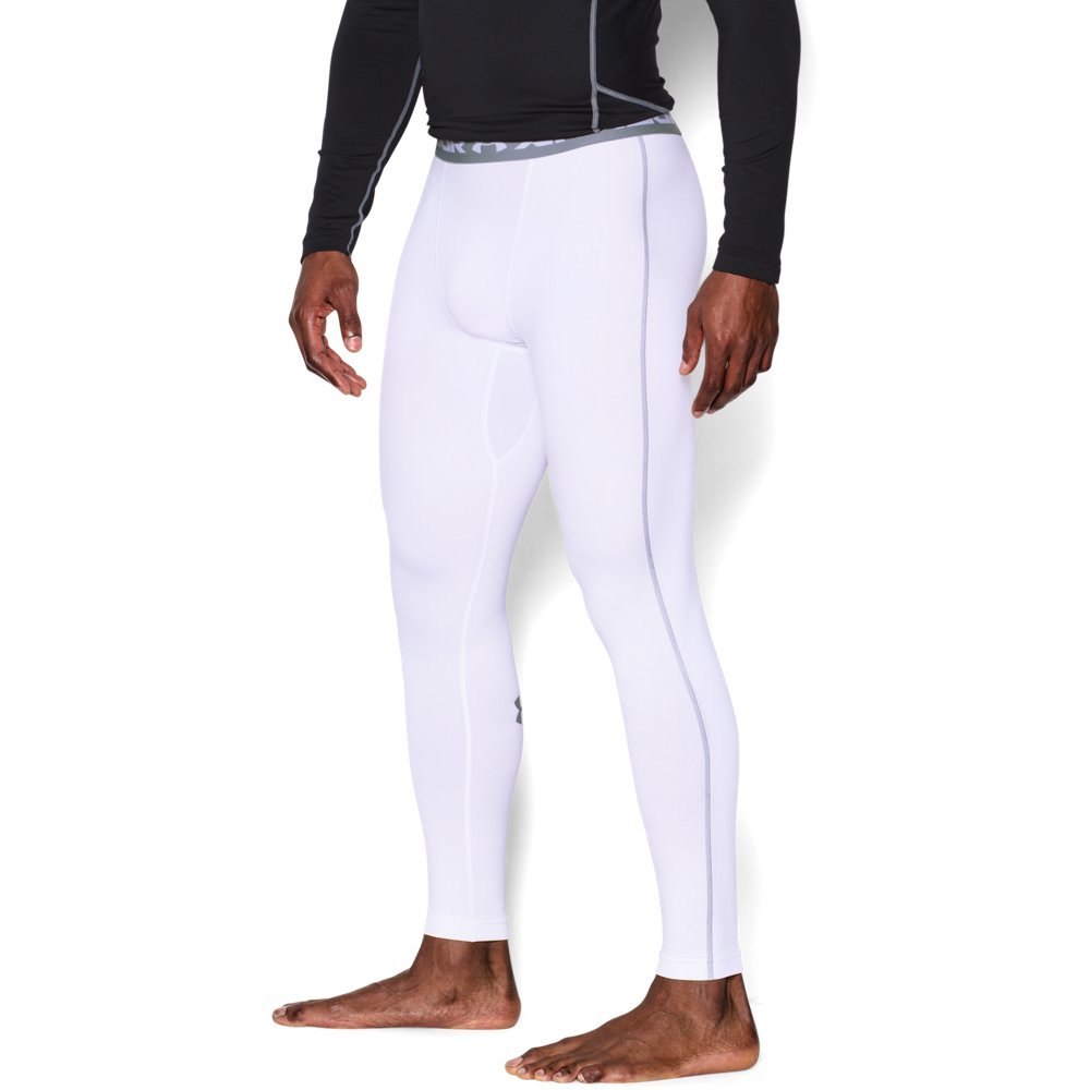 Under Armour Men's ColdGear Armour Compression Leggings, White (100)/Steel, Small