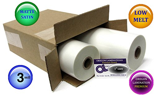 Oregon Lamination Low Melt Laminating Film 12-inch x 250-feet x 1-inch core (2 Rolls) 3.0 Mil matte-satin