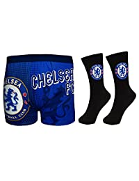 Chelsea Football Club Official Soccer Gift Set Mens Dress Socks & Boxers XL