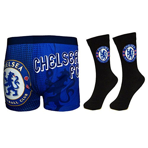 Chelsea Football Club Official Soccer Gift Set Mens Dress Socks & Boxers Large