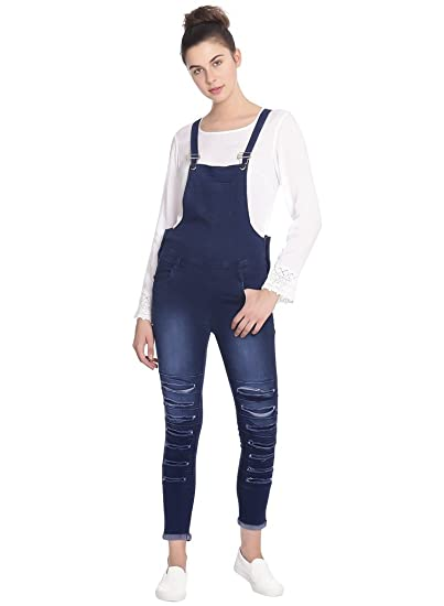 9f476ee68b4 Broadstar Women Denim Blue Dungarees  Amazon.in  Clothing   Accessories