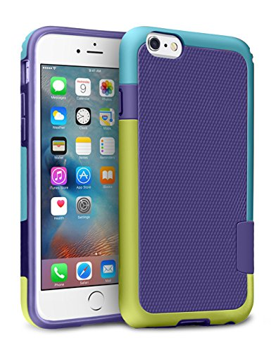iPhone 6S Case, TILL(TM) [Ultra Hybrid] iPhone 6 / 6S (4.7 Inch) Case Hybrid Best Impact TPU Shockproof Rugged Matte Shell Exact-Fit Dual Protection Silm Back Strips Anti-slip Cover Case [Yellow/Blue]