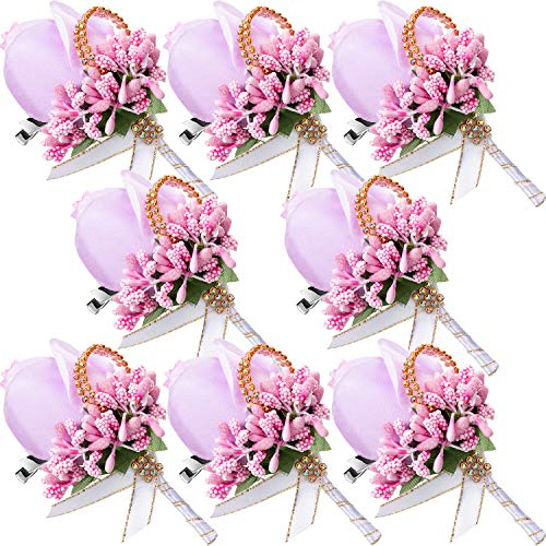 Men Wedding Boutonniere Wedding Flowers Buttonholes Accessories Groom Groomsman Prom Party Suit Decoration (8, Pinkish - Groomsman Button