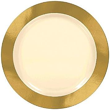 Amscan 7 1/2 Premium Paper Plates Gold Border Party Supplies White  sc 1 st  Amazon.com & Amazon.com: Amscan 7 1/2 Premium Paper Plates Gold Border Party ...