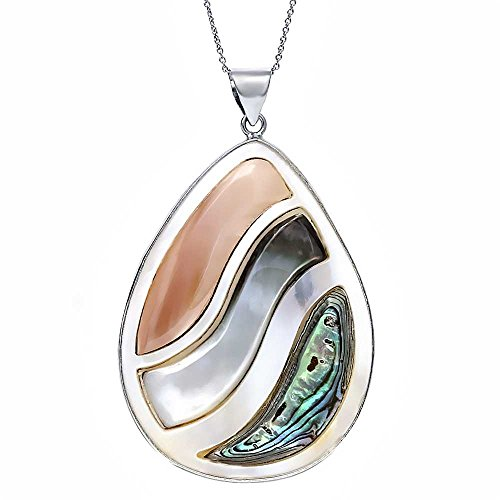 Multicolor Mother of Pearl MOP Abalone Shell Drop Shape Pendant 40mm x 55mm