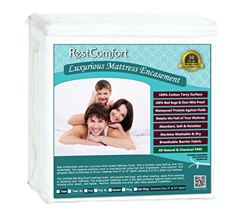 RestComfort Luxury Zippered Encasement Cotton Terry Top - Waterproof, Dust Mite Proof, Bed Bug Proof, Hypoallergenic Breathable Six Sided Mattress Protector (King, Stretches 9