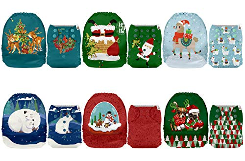 Mama Koala One Size Baby Washable Reusable Pocket Cloth Diapers, 6 Pack with 6 One Size Microfiber Inserts (Peaceful Eve)