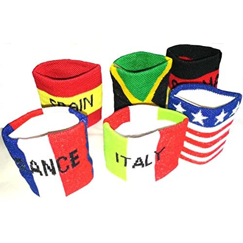 Serre-poignets poignet drapeaux France Espagne USA six pieces bandes épaisse en coton designs mixed