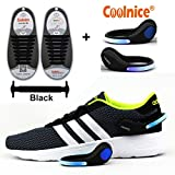 Coolnice® No Tie Shoelaces for Adults 16pcs with LED Shoe Clip Lights- Environmentally Safe Waterproof Silicon- Black Shoelaces with Blue Lights