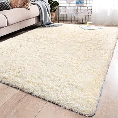 YJ.GWL Soft Beige Shaggy Area Rugs for Girls Room Bedroom Non-Slip Kids Carpet Baby Nursery Decor Fluffy Modern Rug 5.3 x 7.6 Feet