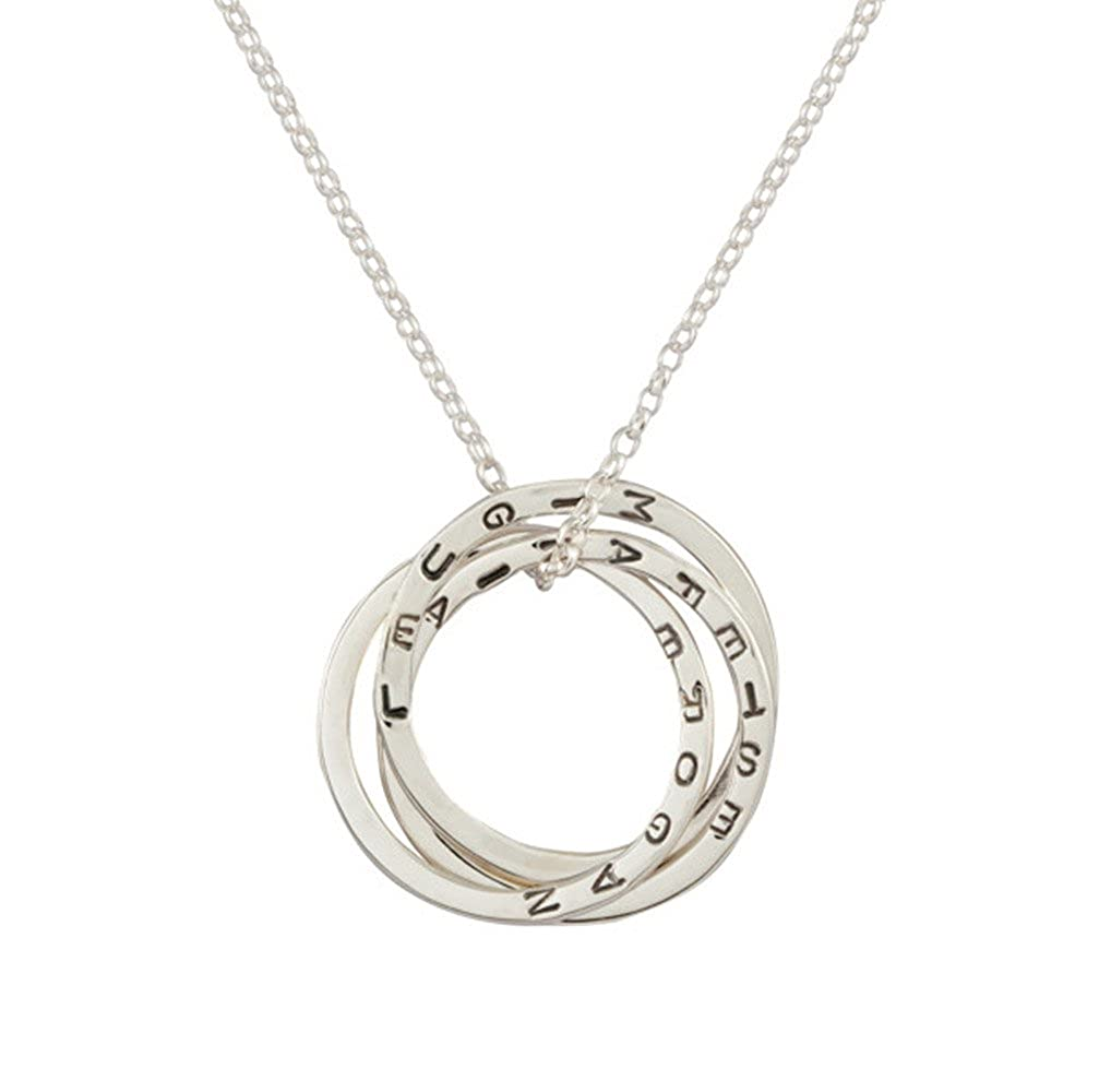 Personalized 925 Sterling Silver Interlink Ring Family Necklace Custom Made with Any Names