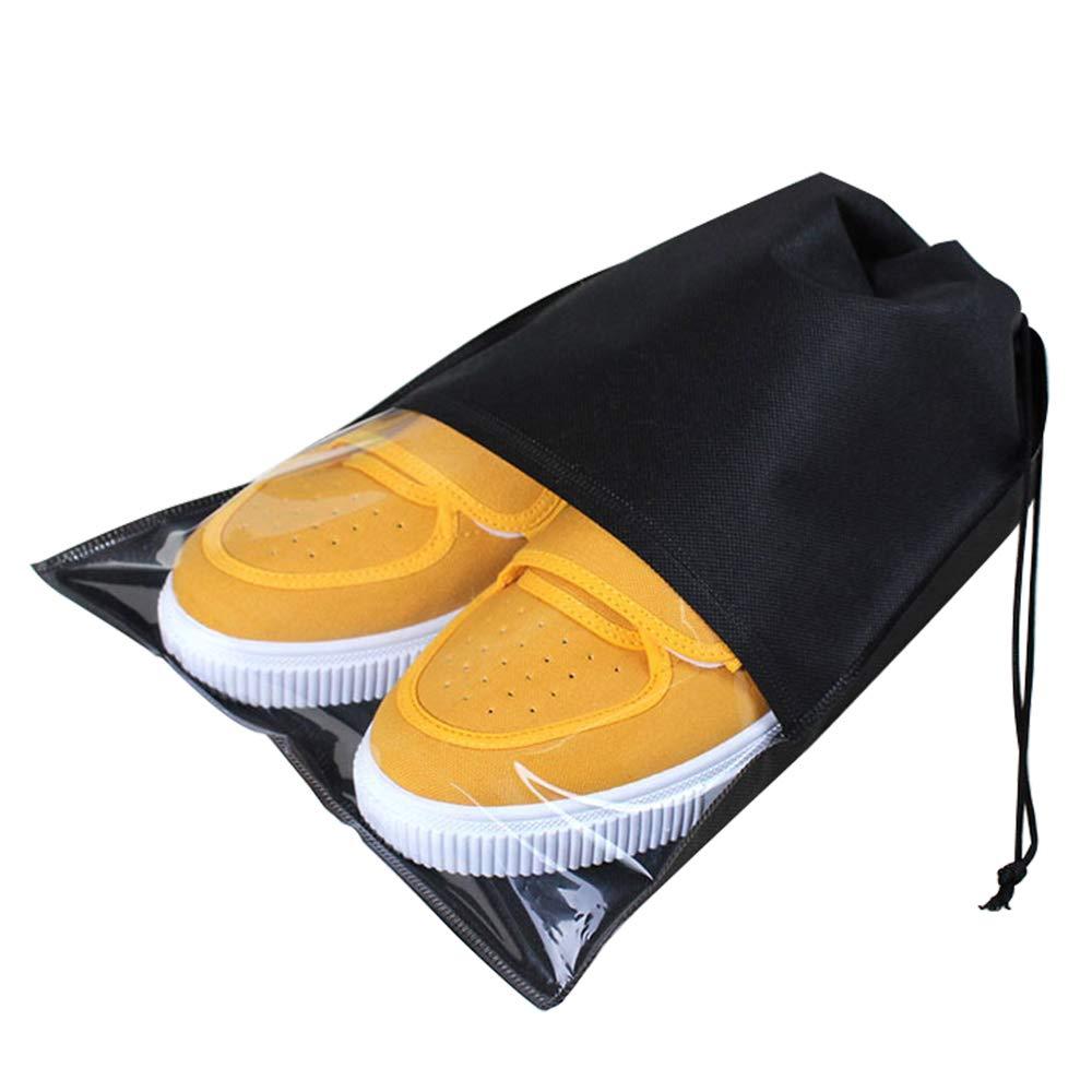 Sacs à Chaussures de Voyage, Sacs de Rangement Organisateurs Drawstring Anti-Poussière Non-Tissé Housse Chaussures avec Fenêtre Transparente pour Voyage Sport, Lot de 8 Yxaomite