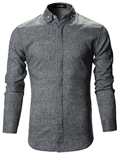 FLATSEVEN Mens Slim Fit Designer Round Collar Button Down Dress Shirts (SH109) Gray, M