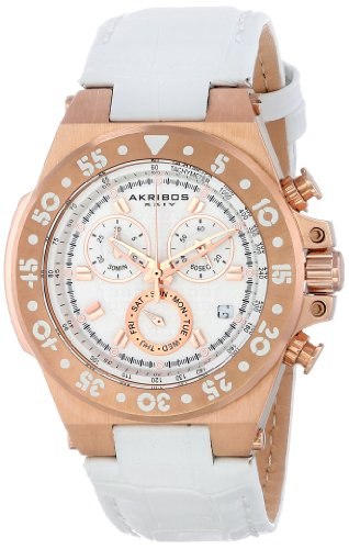 Akribos XXIV Women's AK667RGW Conqueror Swiss Quartz Chronograph Rose-tone Stainless Steel White Leather Strap Watch