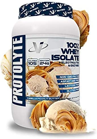 VMI Sports ProtoLyte 100 Whey Isolate Protein Powder, Vanilla Peanut Butter, 1.63lb, with Amino Acids, Electrolytes, Enzymes, High Protein, Gluten Free, Lactose Free, Sugar Free