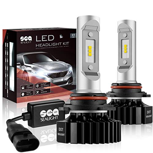 9006/HB4 LED Headlight Bulbs Conversion Kit SEALIGHT X1 Series 12xCSP Chips - 6000LM 6000K Xenon White, 1 Yr Warranty (Pack of 2)