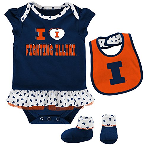 NCAA Illinois Illini Newborn & Infant Team Love Bib & Booties Set, Dark Navy, 12 Months by NCAA by Outerstuff
