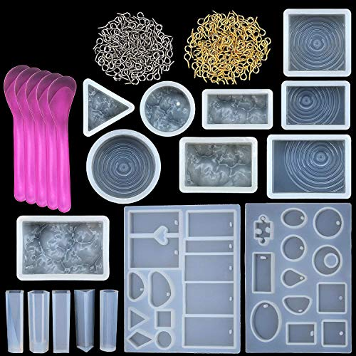 TecUnite 21 Pieces Assorted Designs Resin Casting Molds Silicone Jewelry Making Molds Set with 100 Pieces Mini Screw Eye Pins for Jewelry Pendants DIY