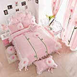 100% Cotton Bed Skirt Duvet Cover Sets, Lace Princess Bedding Sets, 150x200cm(Full, Pink#2)