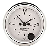 "Auto Meter 1686 Old Tyme White 2-1/16"" 12V Short Sweep Quartz Movement Electric Clock with Second Hand"
