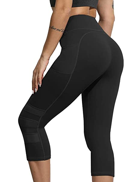 Uoohal Women Yoga Leggings High Waisted Tummy Control Workout Running Capris Stretch Athletic Yoga Pants