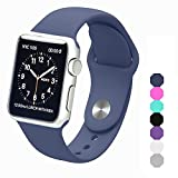 Sxciw Apple Watch Band, Soft Silicone Sports Replacement Wristband for Apple Watch (Midnight blue, 38mm-M/L)