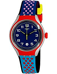 Swatch Men's Azulho YES4017 Red Rubber Swiss Quartz Fashion Watch
