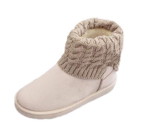 Botines de Felpa Planos clásicos para Las Mujeres Botines de Nieve de algodón de Piel Informal