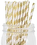Just-Artifacts-Assorted-Decorative-Paper-Straws-100pcs-Light-PinkFuchsiaMetallic-Gold-Striped-Decorative-Paper-Straws-for-Birthday-Parties-Weddings-Baby-Showers-and-Life-Celebrations