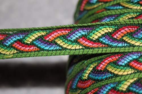 1 Yard Green Rainbow Celtic Knot Braid Reversible Woven Tapestry Trim 1'' - Tapestry Trim