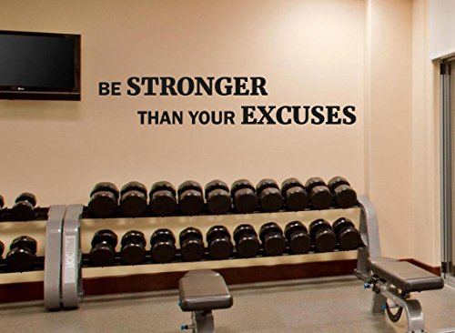 Fitness Wall Decal Be Stronger Than Your Excuses Gym Motivational Fitness Vinyl Sticker Inspirational Wall Decor Fitness Motivation Quote Sport Wall Art Training Workout Wall Mural 111fit