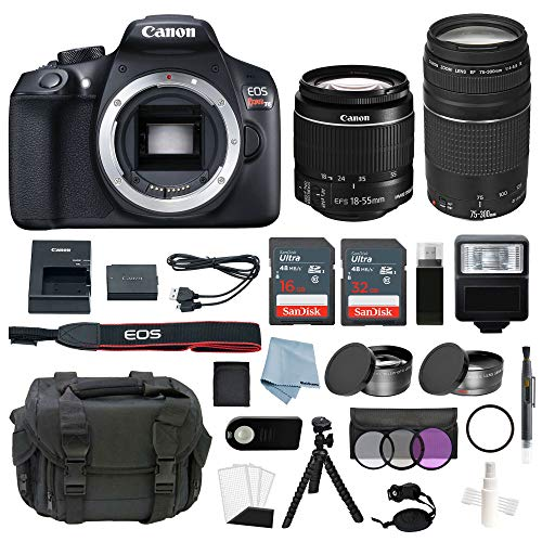Canon EOS Rebel T6 Bundle With EF-S 18-55mm f/3.5-5.6 IS II & EF 75-300mm f/4-5.6 III Lens + Advanced Accessory Kit – Including EVERYTHING You Need To Get Started