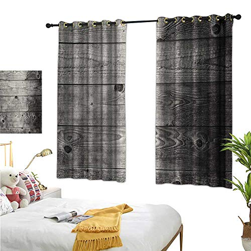 Insulated Sunshade Curtain Ombre Style Grunge Wooden Planks Rustic Timber Oak Wall Rough Texture Image 55