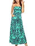 Zeagoo Women's Strapless Vintage Floral Print Maxi Dress with Pockets