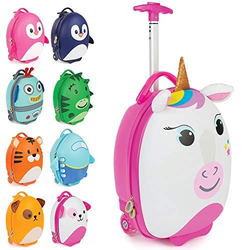 Boppi Tiny Trekker Kids Luggage Travel Suitcase Carry On Cabin Bag Holiday Pull Along Trolley Lighweight Wheeled Holdall 17 Litre Hand Case - Unicorn