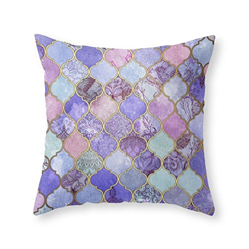 Society6 Royal Purple, Mauve & Indigo Decorative Moroccan Tile Pattern Throw Pillow Indoor Cover (18